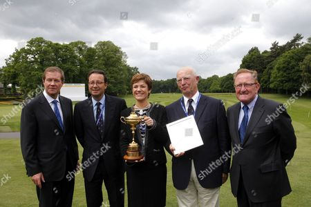 George O'Grady Executive Dir of European Tour,  Pascal Grizot, Chairman of French Ryder Cup bid, Chantal Jouanno, French Minister of Sport, George's Barbaret, President French Golf Federation and  Richard Hills Chair of the Ryder Cup
