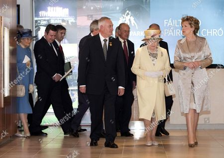 Christy Cooney President of the GAA, Queen Elizabeth II and President Mary McAleese at Croke Park