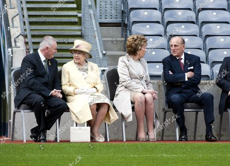 President of the GAA Christy Cooney, Queen Elizabeth II, President Mary McAleese and Prince Philip in Croke Park