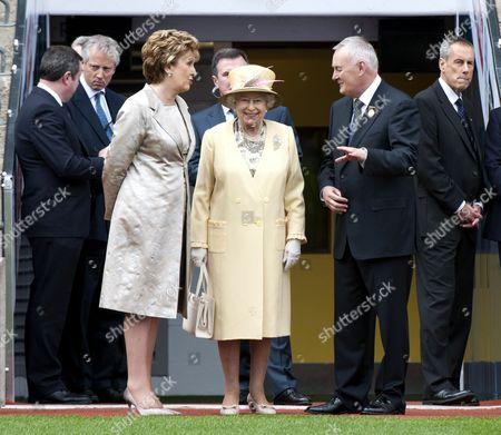 President Mary McAleese, Queen Elizabeth II and President of The GAA Christy Cooney in Croke Park