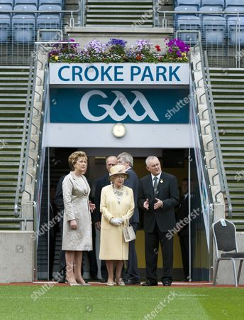 Stock Photo of President Mary McAleese, Queen Elizabeth II and President of The GAA Christy Cooney in Croke Park