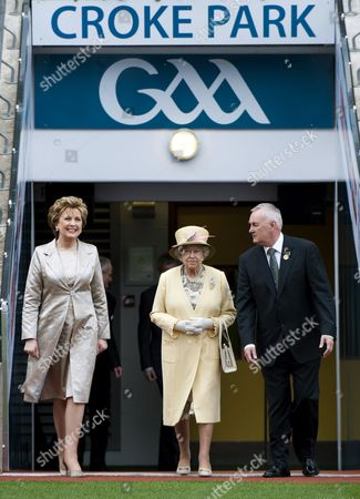 Stock Image of President Mary McAleese, Queen Elizabeth II and President of The GAA Christy Cooney in Croke Park