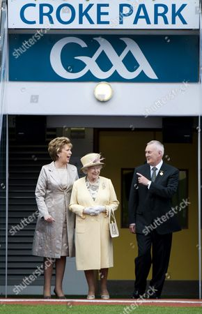 Stock Picture of President Mary McAleese, Queen Elizabeth II and President of The GAA Christy Cooney in Croke Park