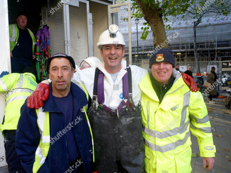 Neil Morrissey with Shaun and Danny who work in the sewers