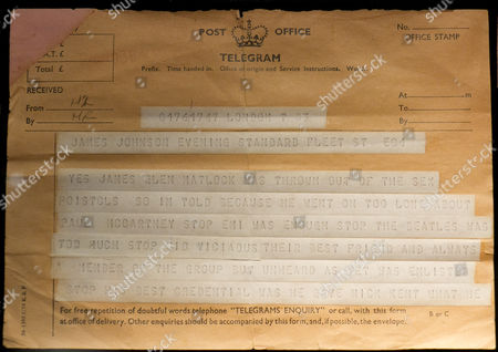 Sex Pistols:  Telegram from Malcolm McClaren announcing the departure of Glen Matlock and the addition of Sid Vicious
