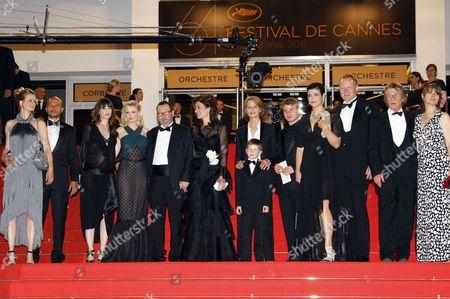 Guest, producer Meta Foldager, Charlotte Gainsbourg, Kirsten Dunst, Lars Von Trier, Bente Froge, guest and Charlotte Rampling