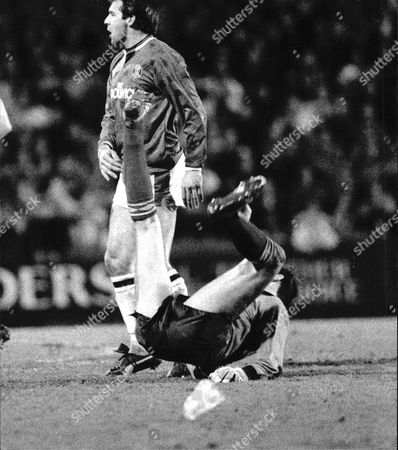 Football 1st Division League Match 1990 Charlton Athletic V Luton Town 2-0 At Selhurst Park Alex Chamberlain Is Upended By Andy Jones To Score Charltons 1st