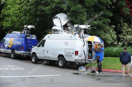 Media outside Arnold Schwarzenegger's house