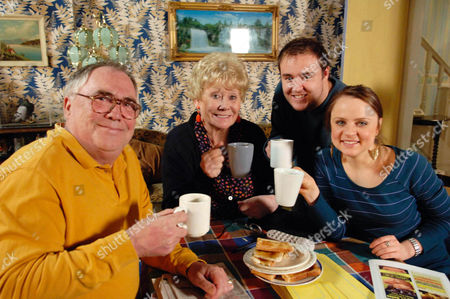 Coronation Street, January 2008  Jack Duckworth [Bill Tarmey], Vera Duckworth [Liz Dawn], Molly Compton [Vicky Binns] and Tyrone Dobbs [Alan Halsall] toast to Jack and Vera's new life in Blackpool