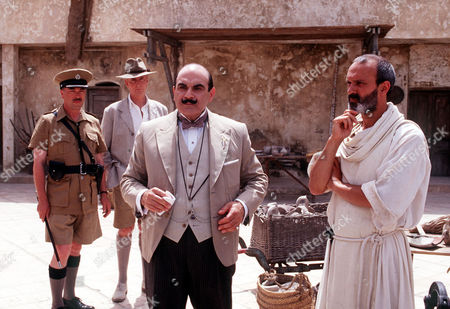 L-R Iain Mitchell (Superintendent Maitland), Hugh Fraser (Captain Hastings) David Suchet (Poirot) and Christopher Hunter as Father Lavigny.