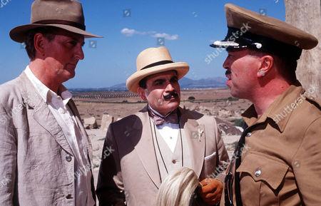 L-R Hugh Fraser (Captain Hastings), David Suchet (Poirot) and Iain Mitchell as Superintendent Maitland.