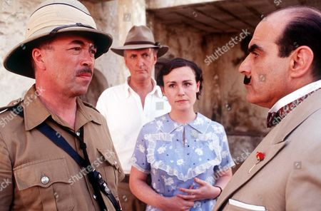 L-R  Iain Mitchell (Superintendent Maitland), Hugh Fraser (Captain Hastings),Georgina Sowerby (Amy Leatheran) and David Suchet (Poirot)