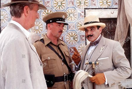 Hugh Fraser (Captain Hastings), David Suchet (Poirot) and Iain Mitchell as Superintendent Maitland.