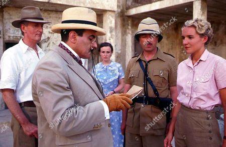 Hugh Fraser as Captain Hastings, David Suchet as Hercule Poirot, Georgina Sowerby as Amy Leatheran, Iain Mitchell as Superintendent Maitland and Pandora Clifford as Sheila Maitland