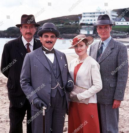 Inspector Japp (Philip Jackson), Hercule Poirot (David Suchet), Miss Lemon (Pauline Moran) and Captain Hastings (Hugh Fraser)