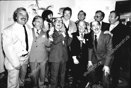 Max Bygraves Centre Back Row With L-r Bernard Cribbins George Elrich Jimmy Tarbuck Arthur Askey Eric Sykes (back) Ernie Wise (front) Michael Bentine (back) Alfred Marks (front) And Val Doonican. Max Celebrates 30 Years In Showbusiness Today.