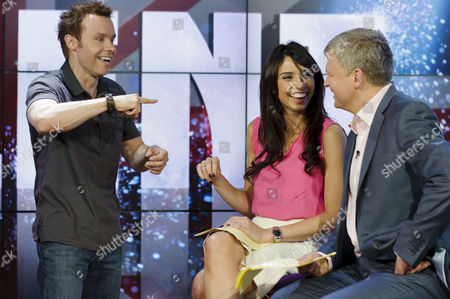Stock Photo of David Penn with Christine Bleakley and Adrian Chiles
