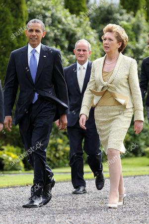 US President Barack Obama, Dr Martin McAleese and President of Ireland Mary McAleese at Aras an Uachtarain, Dublin