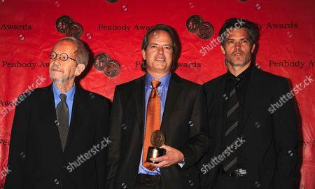 Peabody Award winners for TV Series Justified L-R: Elmore Leonard, Graham Yost, Timothy Olyphant