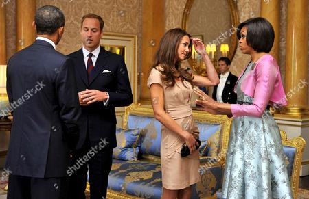 US President Barack Obama, Prince William, Catherine Duchess of Cambridge and First Lady Michelle Obama at Buckingham Palace