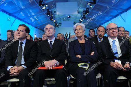 Eric Besson, Frederic Mitterrand, Christine Lagarde and Rupert Murdoch