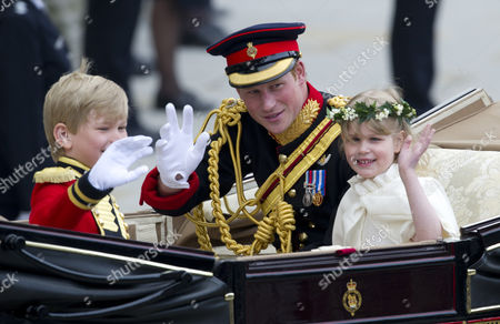 Prince Harry with Lady Louise Windsor and Tom Pettifer