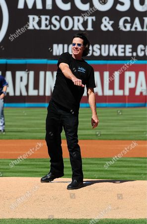 John Cowsill of The Beach Boys throws first pitch at the Florida Marlins Vs. Tampa Bay Rays