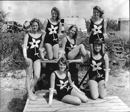 The Water Ski Team Called 'the Aquamaids' Formed By Pamela Horton. Shows Pam Horton Sheila Vickers Wendy Francis Jill Palmer Sue Cuthbert And Heidi Long.