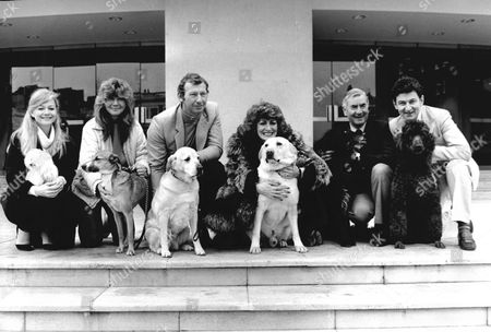 Judy Geeson Jilly Cooper Bob Wilson Faith Brown Bill Pertwee And Doug Cameron Pose With Their Pets On The Eve Of Crufts Dog Show.