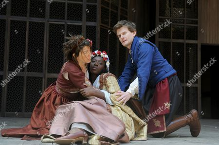 'Much Ado About Nothing' - Eve Best (Beatrice), Ony Uhiara (Hero) and Charles Edwards (Benedick)