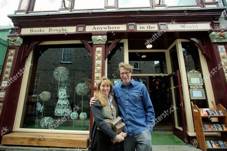 Stock Image of The new owners of Richard Booth bookstore, Elizabeth Haycock and Paul Greatbatch