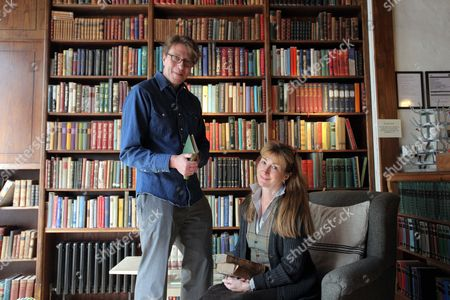 Stock Photo of The new owners of Richard Booth book shop in Hay on Wye are Elizabeth Haycock and Paul Greatbatch
