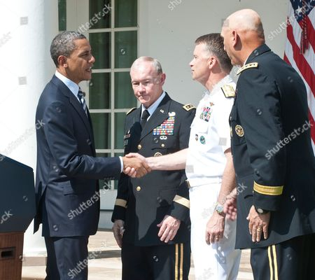 Tom Donilon, National Security Advisor, Secretary of Defense Robert Gates, Barack Obama, Army General Martin Dempsey, Admiral James Winnefeld to be new Vice Chairman and Army General Ray Odierno to be new Army Chief of Staff