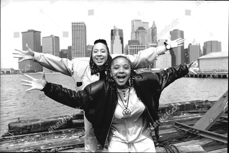 Editorial photo of Debbie Pryce And Suzie Banfield Of Rap Duo 'the Cookie Crew' Pictured In New York.