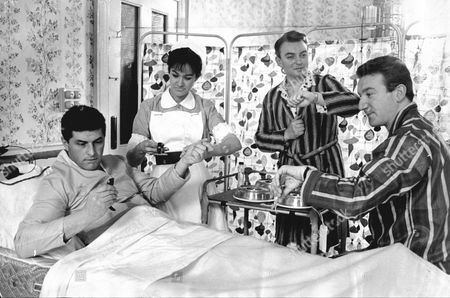 Editorial picture of Robert Arnold (left) Zeph Gladstone (nurse) And Peter Byrne In Theatrical Comedy Play 'ring For Catty' Set In A Tb Ward Of A Hospital.