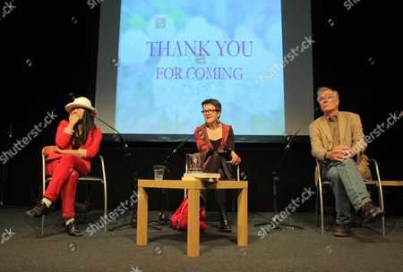 Stock Picture of L-R Chinese author Xiaolu Guo, Rosie Goldsmith and Timothy Brook