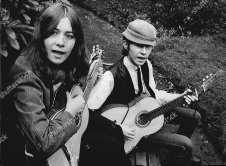 Janet Osborne And Gary Osborne With Guitars In 1965. They Are Children Of Musician Tony Osborne.