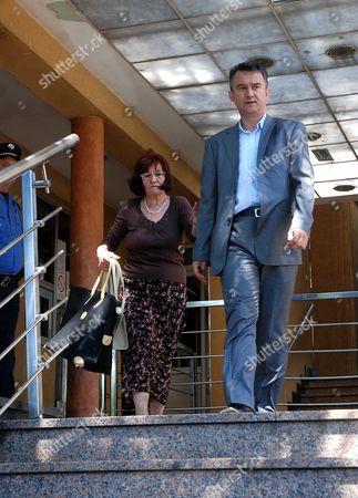 Bosiljka Mladic (L) and Darko Mladic (R) wife and son of Bosnian Serb General Ratko Mladic