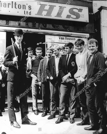 Leeds United Footballer Jackie Charlton And Leeds Players At The Opening Of Charlton's New Shop In Leeds.