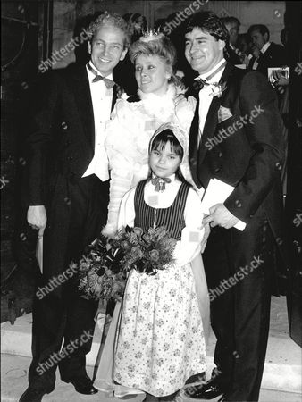 Chris Cowdrey Former England Test Captain With His Bride Christel Holste-sande A Swedish Financial Consultant. David Gower Left Was Best Man. Chris Is The Son Of Colin Cowdrey.