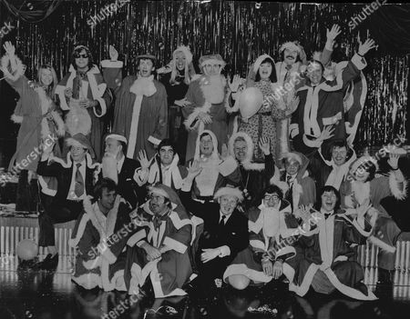 Group Shot Of Stars From Itv's Christmas Schedule 1974 Peters And Lee Colin Crompton April Olrich John Clive Barbara Mitchell Dickie Davis Brian Moore Reg Varney Tommy Trinder Derek Nimmo Nicholas Parsons Danny La Rue Johnny Vyvyan Johnny More Sally James Freddie Starr John Alderton Allan Cuthbertson Frank Carson And Mike Goddard.