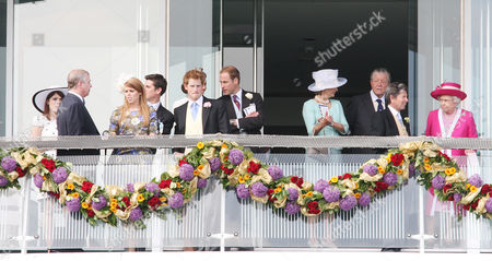 Stock Image of Princess Eugenie, Prince Andrew, Princess Beatrice, Jake Warren, Prince Harry, Prince William, guests, John Warren and Queen Elizabeth II