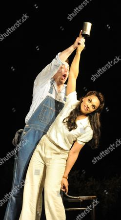 Stock Photo of Danielle De Niese (Adina) and Stephen Costello (Nemorino)