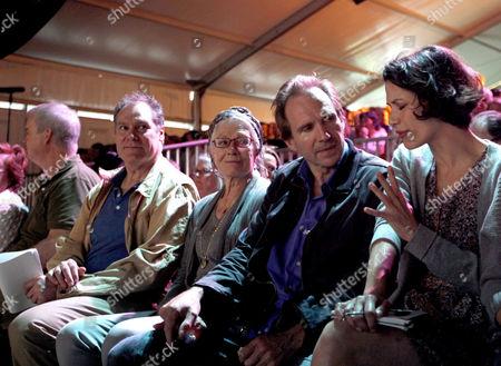 Philippe Sands, Vanessa Redgrave and Ralph Fiennes listening to Julian Assange