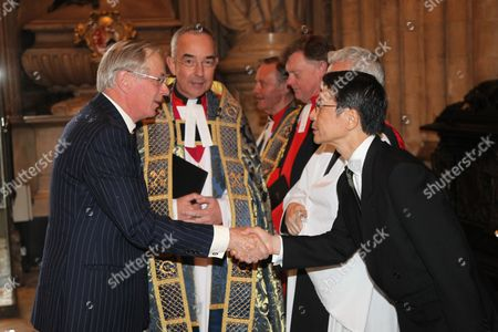 The Duke of Gloucester meets the Ambassador of Japan, Keiichi Hayashi as The Very Reverend Dr John Hall looks on
