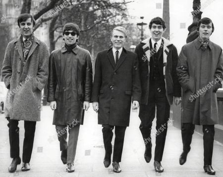Adam Faith And The Roulettes. Adam Faith (dead March 2003) Takes A Stroll On The Embankement With His Group The Roulettes. L To R; Robert Henrit John Rogan Adam Faith Russ Ballard And Peter Thorpe.