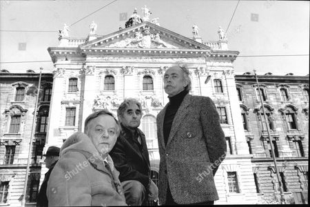 Feature On German Anti-nazi Resistance Movement During W Ii Known As The White Rose. Pictured L-r Hans Hirzel Heinrich Guter And Franz Muller Outside The Court House Where They Were Tride