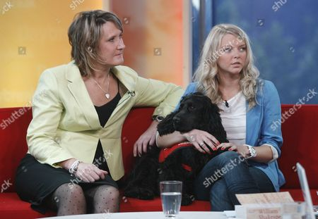Stock Picture of Kelly Sears, Claire Guest and Theo the dog