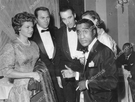 Entertainer Sammy Davis Jnr With Actors Nicole Maurey Howard Keel And Christopher Lee At Siegi's Club London 1961.