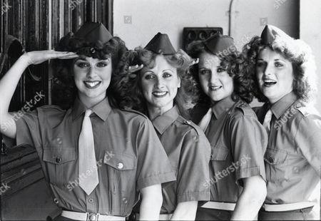 The Byrne Sisters Singing Group. Ltor Ann Byrne Louisa Byrne Paula Byrne And Moira Byrne Dressed In Forties Style World War 2 Uniforms Jeep Singing Quartet
